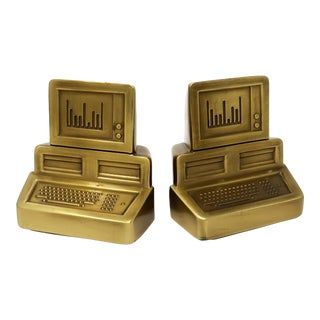 Pair of 1980s Brass Computer Bookends For Sale