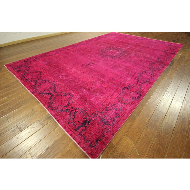 """Pink Overdyed Oriental Floral Rug - 9'6"""" x 14'10"""" - Image 2 of 10"""