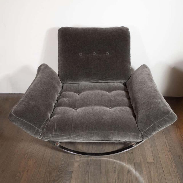 Midcentury Button Tufted Chair & Ottoman in Chrome & Graphite Mohair by Stendig - a Pair For Sale - Image 10 of 13