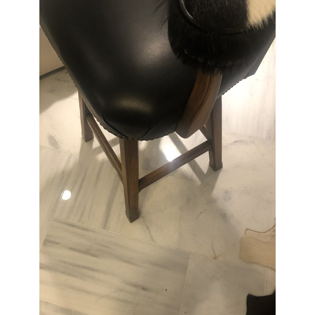 Leather Horchow Black Leather/Cowhide Barstool For Sale - Image 7 of 10