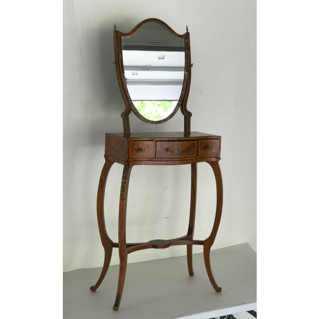Traditional 1790s Traditional Sheraton Shield Shaped Mirror Hand Painted Childs Vanity For Sale - Image 3 of 13