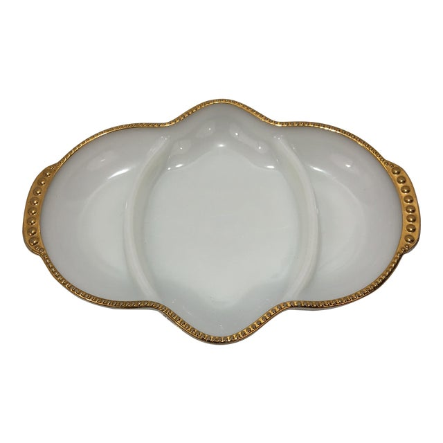 Art Deco Fireking Gold Trimmed Milk Glass Dish For Sale