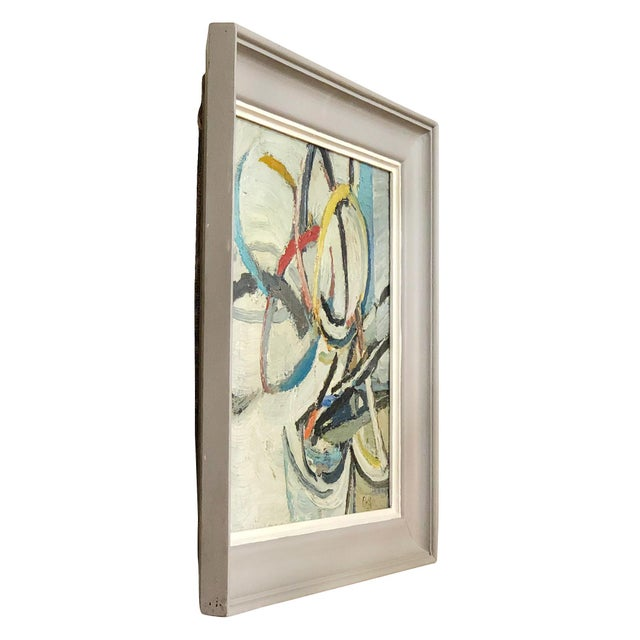 Round abstract forms on wood with a grey frame by Daniel Clesse, painted in France. Without the frame: 15 H x 18 W x 1 D...