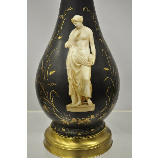 Neoclassical Antique French Neoclassical Black Porcelain Classical Bulbous Table Lamps - Pair For Sale - Image 3 of 13