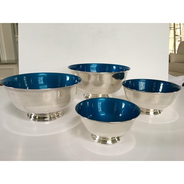 Mid-Century Reed & Barton Silver-Plated Revere Bowls With Blue Enamel Interiors - Set of 4 Sizes For Sale - Image 13 of 13