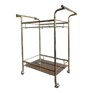 Vintage Brass Faux Bamboo Bar Cart For Sale