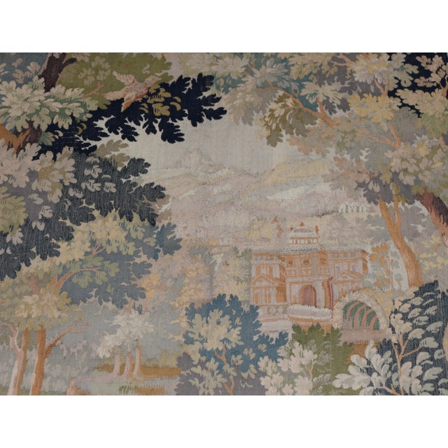Red Fine Antique European Tapestry Depicting a Country Scene With Dogs For Sale - Image 8 of 13