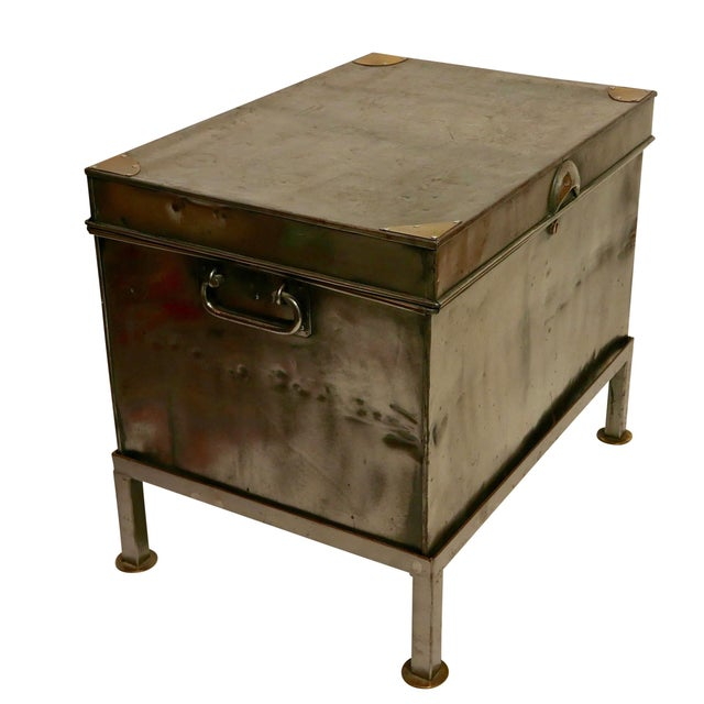 Campaign 19th Century Polished Steel Trunk on Stand For Sale - Image 3 of 12