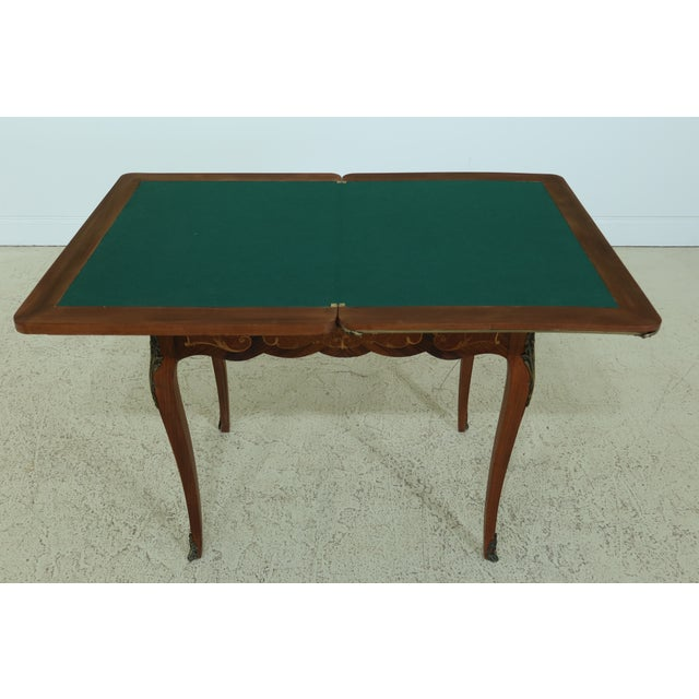 Vintage 1920s Highly Inlaid French Louis XV Games Table For Sale - Image 10 of 13