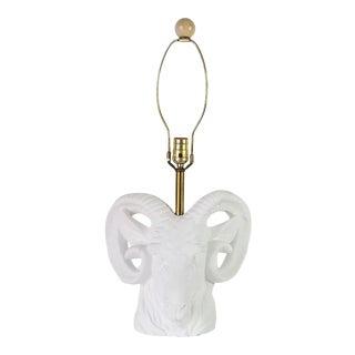 1970s Hollywood Regency Ram Head Plaster Table Lamp For Sale