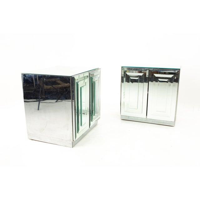 "Ello Mirrored Mid Century ""Skyscraper"" Nightstand - Pair Each nightstand measures: 24.5 wide x 17 deep x 25 high When you..."