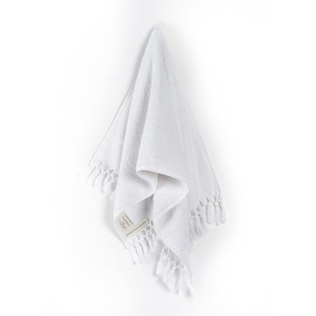2020s Plush & Bare Handmade Organic Cotton Hand Towel in White For Sale - Image 5 of 5