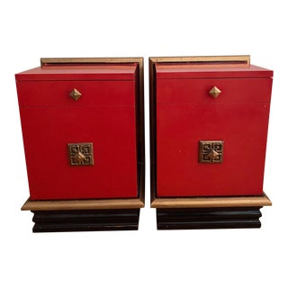 Hollywood Regency Red Lacquer Side Tables - a Pair For Sale