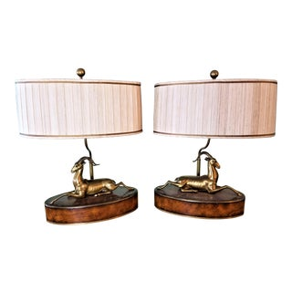 Theodore Alexander Solid Brass Gazelles & Burl Wood Table Lamps With Shades - A Pair For Sale