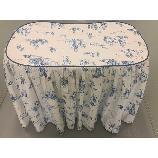 Children's Custom Brunschwig & Fils Fabric Skirted Vanity Table For Sale - Image 3 of 12