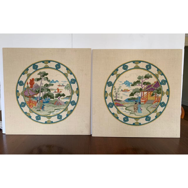 A lovely pair of unframed crewl works depicting a Chinese Kwan Lin plate scene. Designed by the renown artist Elsa...