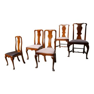 """English """"Queen Anne"""" Chairs - Set of 5 For Sale"""
