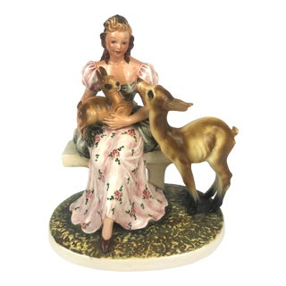 Vintage Capodimonte Figurine Girl With Fawn- C. Mollica For Sale
