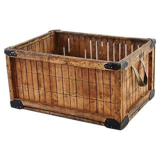 Early 1900s Slat Wood, Wire & Metal Industrial Crate Trug Box