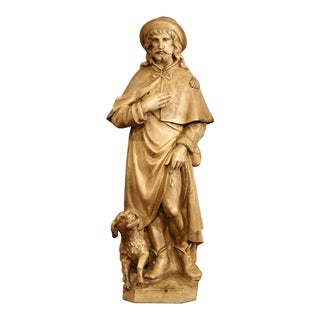 Early 20th Century French Patinated Terracotta Sculpture of Shepherd With Dog For Sale