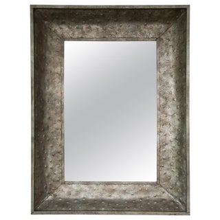Industrial Hammered Metal Wall Mirror For Sale
