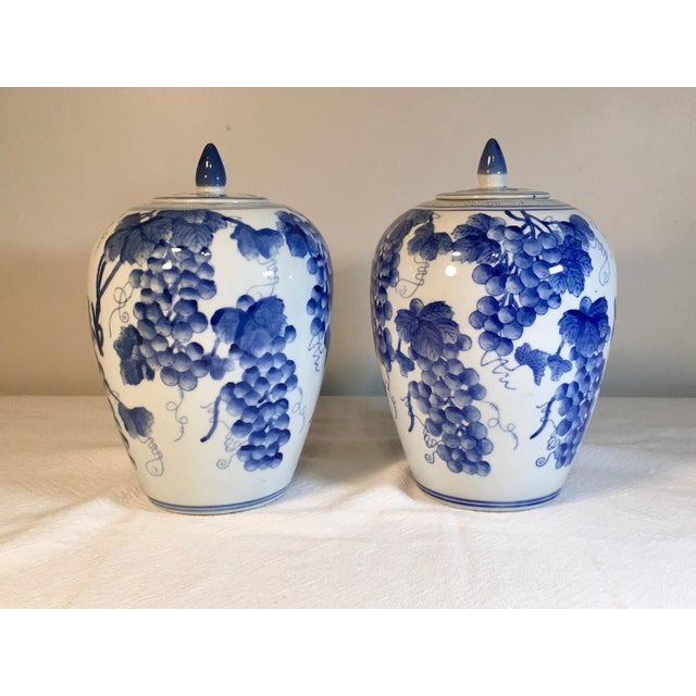 1980s Vintage Chinese Ginger Jars With Grapes Motif - a Pair For Sale - Image 5 of 5