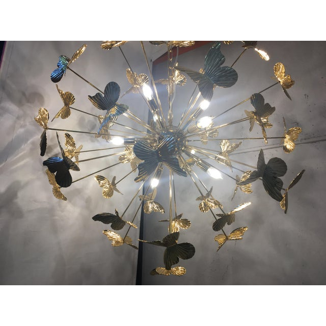 Contemporary Italian Hand Made Gold 24k Butterfly Sputnik Chandelier For Sale - Image 3 of 13