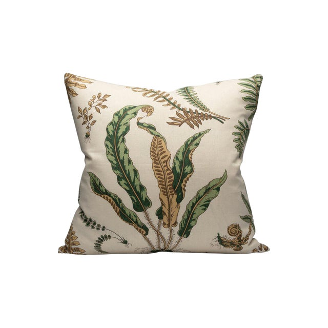 Elsie De Wolfe Pillow, Greens on Off White For Sale
