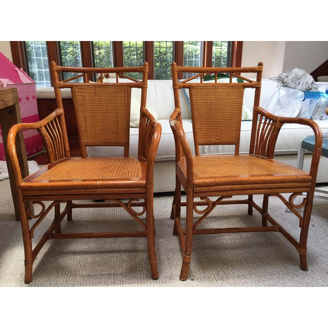 Palecek Cane Seat Armchairs - a Pair For Sale - Image 10 of 11