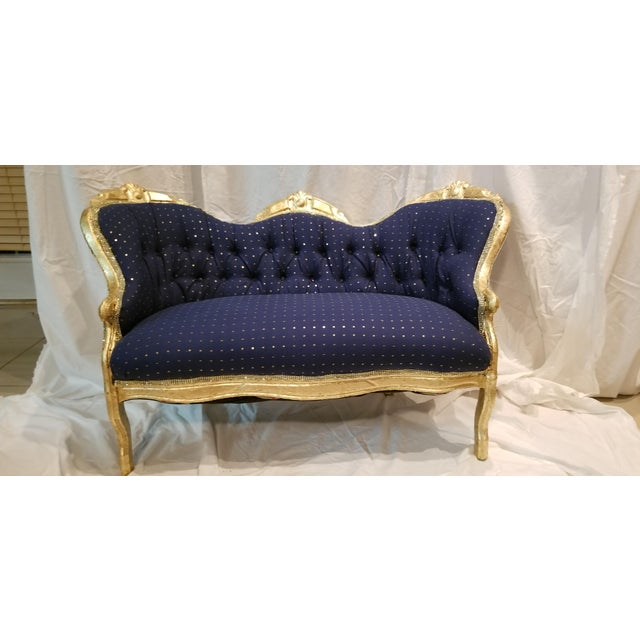 Antique Settee in Navy Linen With Gilded Frame For Sale - Image 9 of 10