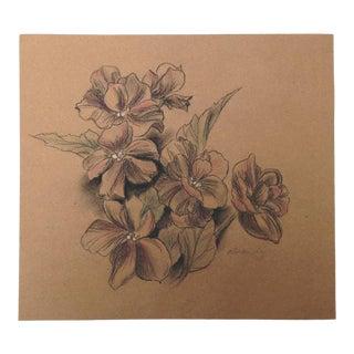 Kathleen Ney Floral I on Kraft Paper Drawing For Sale