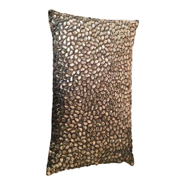 Aviva Stanoff Beaded Jewel in Smoke Pillow For Sale