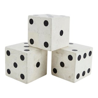 Set of 3 Postmodern Oversized Tessellated Stone Dice, 1990s For Sale