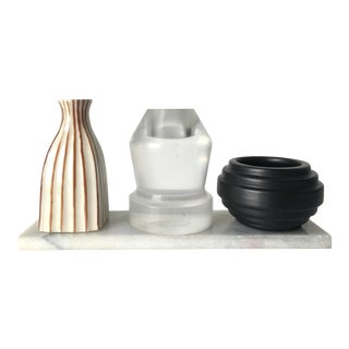 Modern Candle Holders on Marble Slab - Set of 4 For Sale