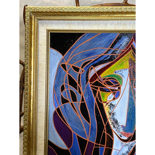 Beautiful Vintage Oil on Canvas Signed Abstract Cubism Gold Frame Nice overall condition. No damages or repairs. Frame in...