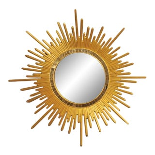 Italian Neoclassic Style Gilt Wood Sunburst Wall Mirror For Sale