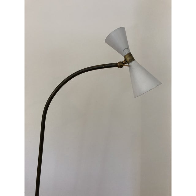 Mid-Century Stilnovo Floor lamp with brass gooseneck, and marble base. Original paint and patinated brass.
