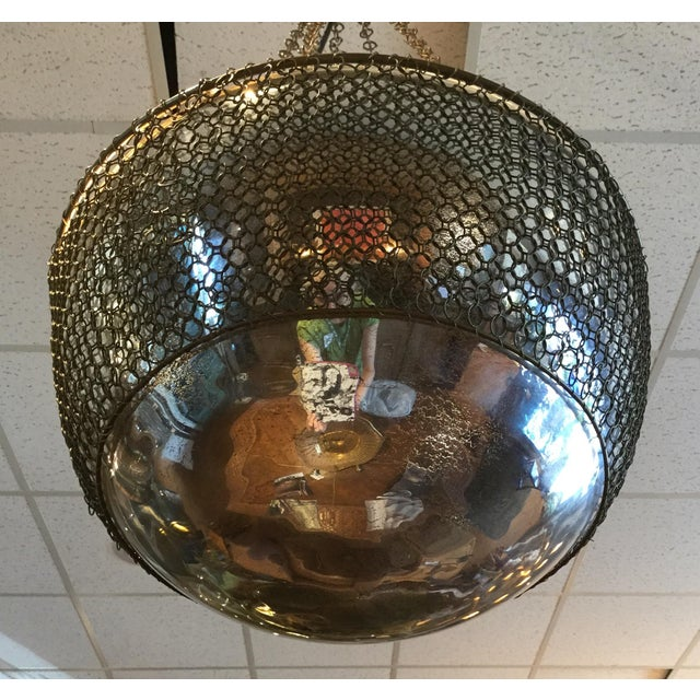 Arterior, Laura Kira Collection Hanging Chainmail Domed Round Mirror Pendant Lamp For Sale - Image 6 of 7
