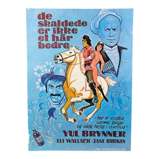 """1972 """"Romance of a Horse Thief"""" Original Danish Movie Poster Featuring Yule Brenner and Jane Birkin For Sale"""