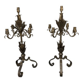Vintage Bronze Gilt Candelabras - a Pair