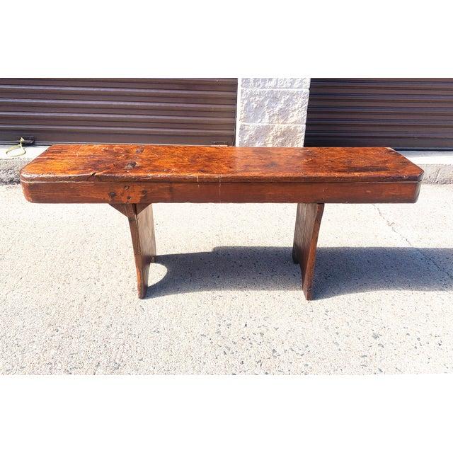 1920s Vintage Primitive Brown Pine Bench For Sale - Image 13 of 13