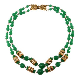 Jade Green Glass Asian Styled Bead Necklace For Sale