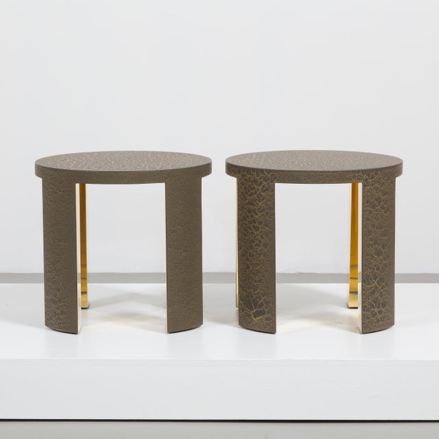 2010s The Circular Crackle Side Tables by Talisman Bespoke (Bronze and Gold) For Sale - Image 5 of 10