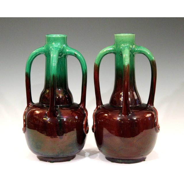 Art Nouveau Pair of Art Nouveau Japanese Awaji Pottery Organic Gourd Form Tendril Vases For Sale - Image 3 of 10