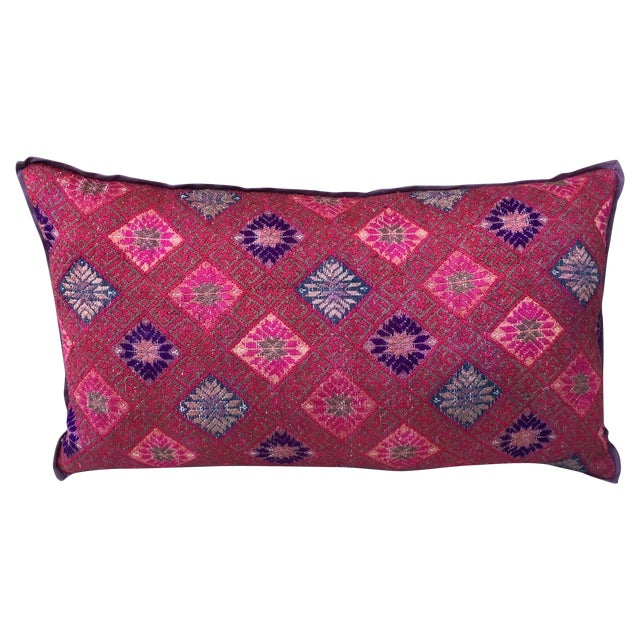 Hmong Vibrant Woven Textile Pillow - Image 1 of 5