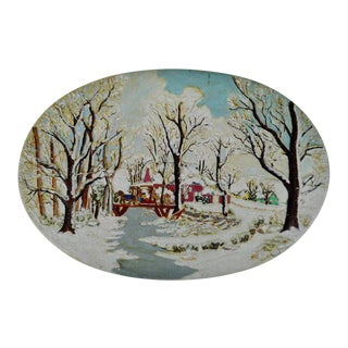 Winter Scene With Horse & Sleigh Hand-Painted Wall Art For Sale