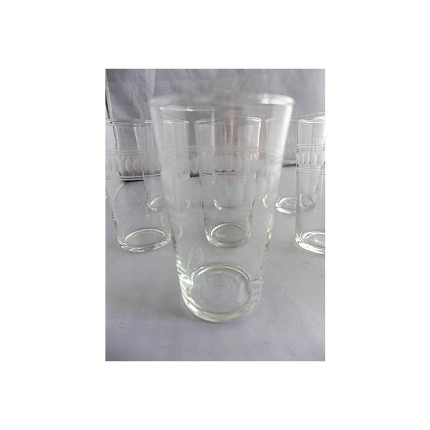 Mid-Century Clear Etched Bar Glasses - Set of 7 For Sale - Image 4 of 5