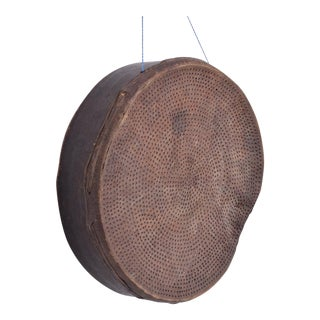 Antique Guatemalan Primitive Bentwood and Goatskin Flour Sieve Sifter For Sale