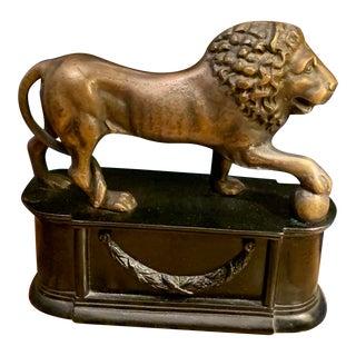 Bronze Lion on Pedestal Statue For Sale