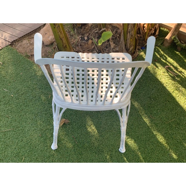 Metal 20th Renaissance Revival Style Cast Iron White Garden Chairs in Faux Bamboo - a Pair For Sale - Image 7 of 11